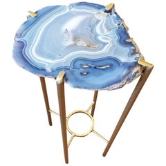 Organic Modern Blue White Gray Geode Drink Table with Gold Gilt Base