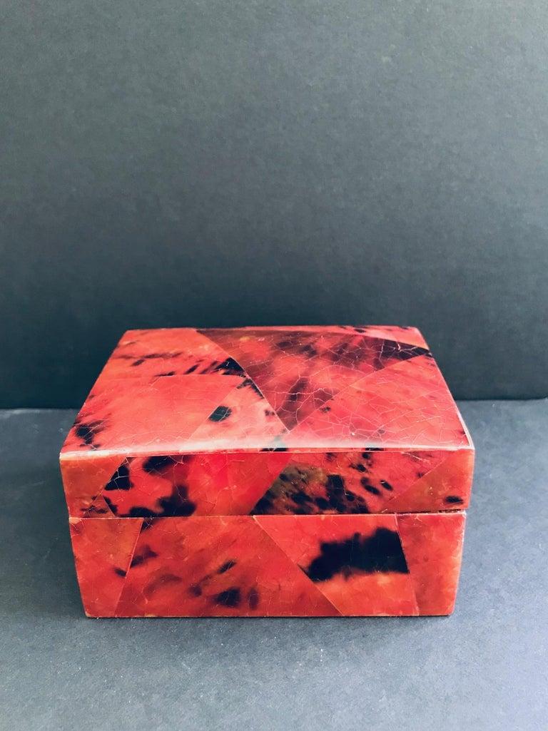 French Organic Modern Box in Mosaic Pen-Shell by R&Y Augousti For Sale