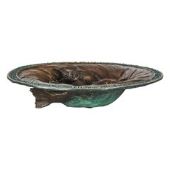 Organic Modern Cast Bronze Bowl Sculpture with Fish Design by John Forsythe