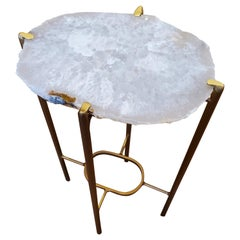 Organic Modern Clear and White Quartzite Geode Drink Table with Gold Gilt Base