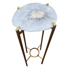 Organic Modern Clear Crystal with Peach Geode Drink Table with Gold Gilt Base