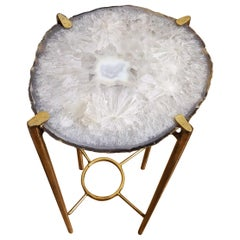 Organic Modern Clear White and Gray Quartzite Geode Drink Table