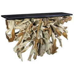 Organic Modern Console Table or Bar Counter, Teak Root with Black Wood