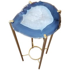 Organic Modern Dark Blue and White Geode Drink Table with Gold Gilt Base