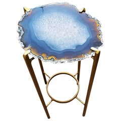 Organic Modern Dark Blue with Copper Color Geode Drink Table with Gold Gilt Base