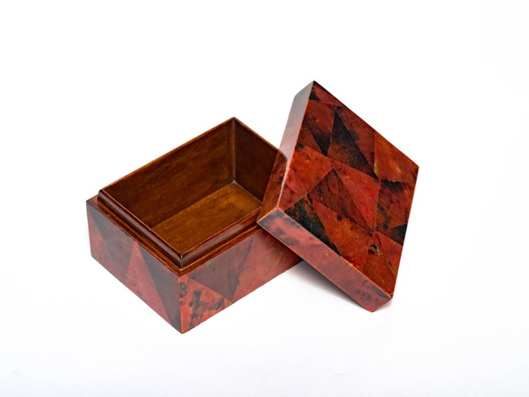 French Organic Modern Decorative Box in Exotic Red Lacquered Pen Shell For Sale
