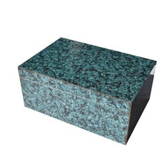 Organic Modern Decorative Rectangular Green Malachite Stone Look Wood Box