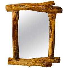 Organic Modern Design Maple Wood Framed Wall or Mantel Mirror