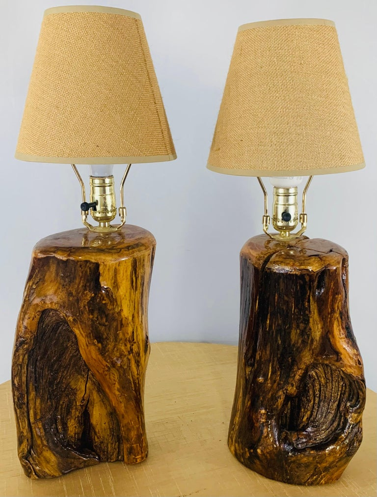 Organic Modern Design Maple Wood Table Lamps, a Pair For Sale 8