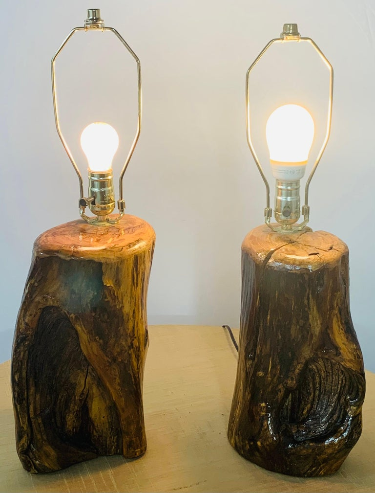 Organic Modern Design Maple Wood Table Lamps, a Pair For Sale 9