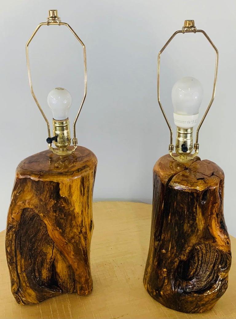 American Organic Modern Design Maple Wood Table Lamps, a Pair For Sale
