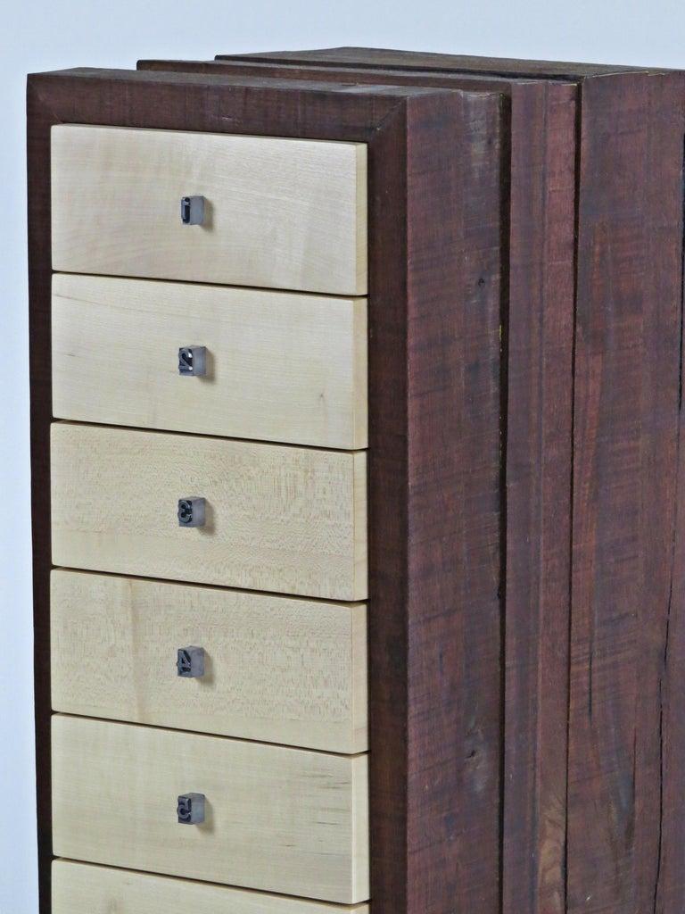 Contemporary Organic Modern, European, 21st Century, Drawer Cabinet, Dresser, Walnut, Maple For Sale