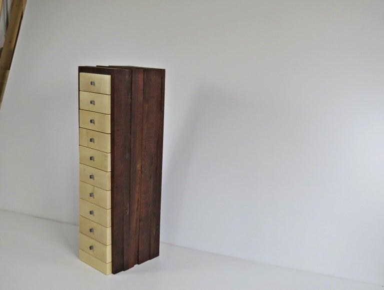 Organic Modern, European, 21st Century, Drawer Cabinet, Dresser, Walnut, Maple For Sale 1
