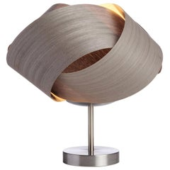 Organic Modern Gray Wood Table Lamp with Brushed Steel