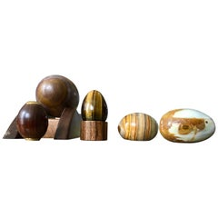 Organic Modern Hand Carved and Burnished Stone and Wood Egg and Holster Set