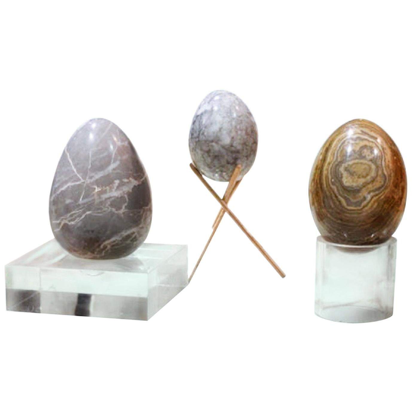 Organic Modern Hand Carved Stone Egg Sculptural Set with Brass and Lucite Bases