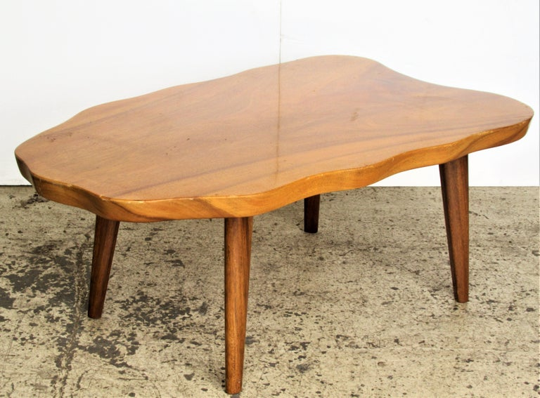Organic Modern Hawaiian Monkey Pod Wood Table In Good Condition For Sale In Rochester, NY