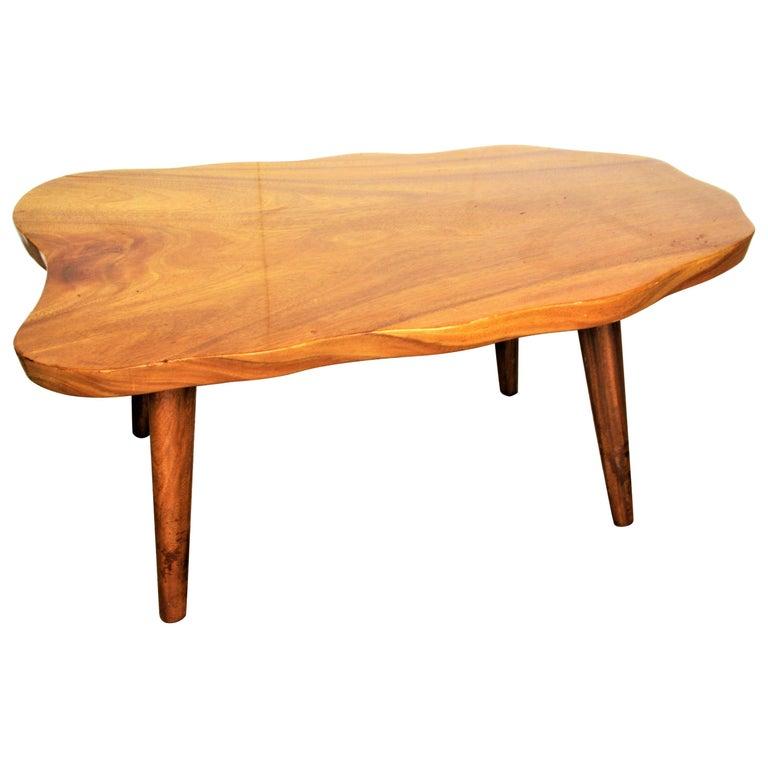 Large Vintage Monkey Pod Wood Slab Coffee Table: Organic Modern Hawaiian Monkey Pod Wood Table For Sale At