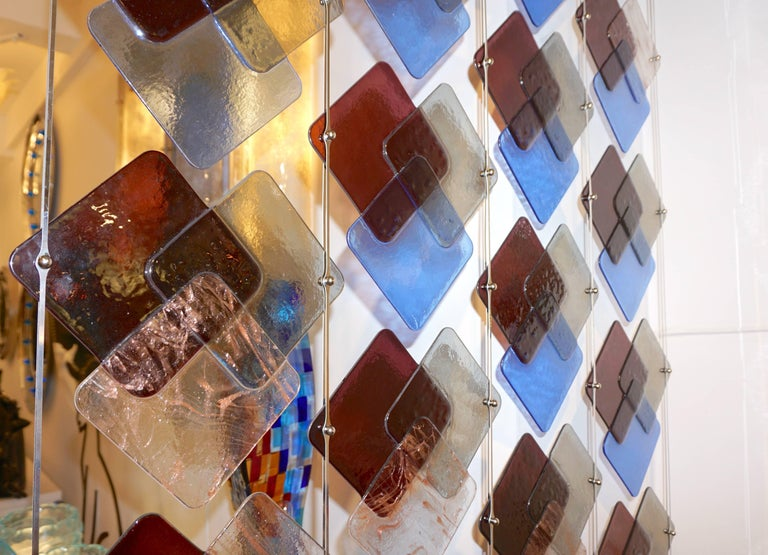 Organic Modern Italian Geometric Black Pink Aqua Murano Glass Curtain or Divider For Sale 7