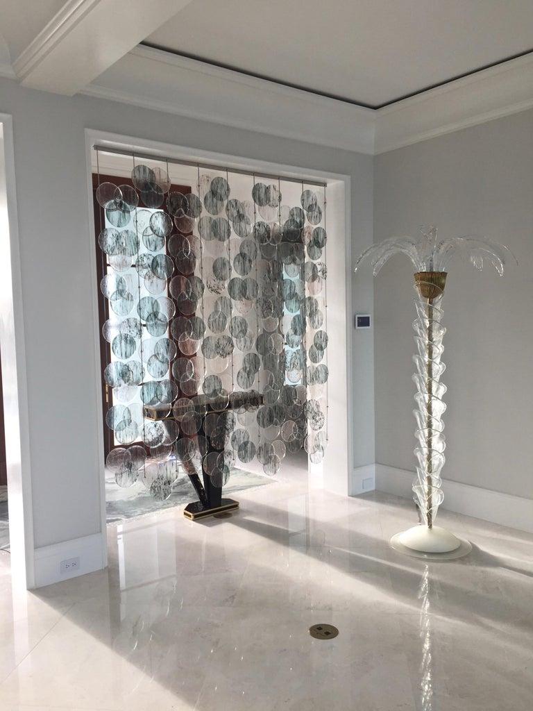 Organic Modern Italian Geometric Black Pink Aqua Murano Glass Curtain or Divider For Sale 12