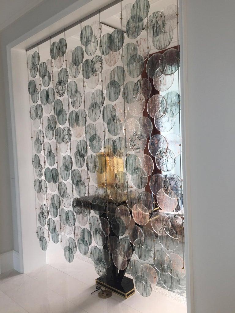 Organic Modern Italian Geometric Black Pink Aqua Murano Glass Curtain or Divider For Sale 13