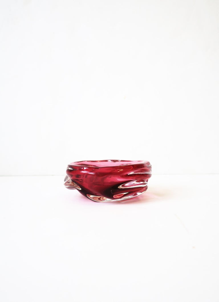 Italian Murano Red Pink Art Glass Bowl For Sale 7