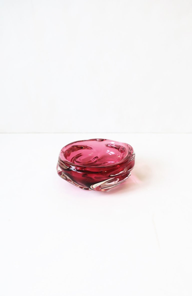 Italian Murano Red Pink Art Glass Bowl For Sale 8