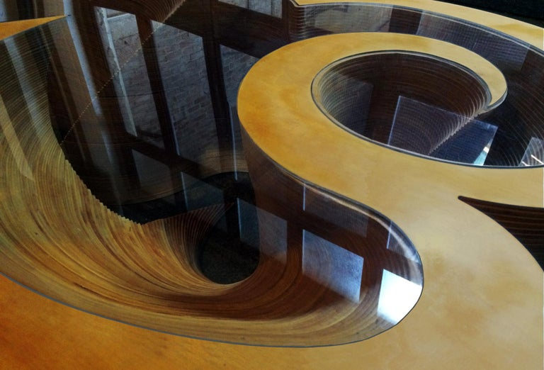 Inlay Organic Modern Laminated Baltic Birch Coffee Table  For Sale