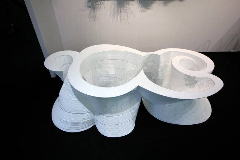 Acrylic Organic Modern Laminated Baltic Birch Coffee Table  For Sale