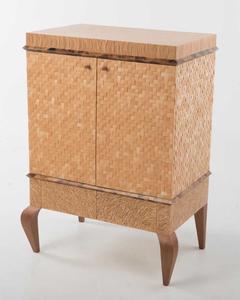 Organic Modern Meticulously Hammered Coconut Shell Cabinet For Sale 3