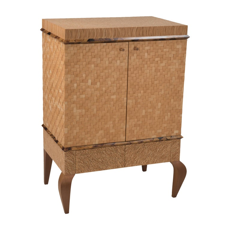 Organic Modern Meticulously Hammered Coconut Shell Cabinet For Sale