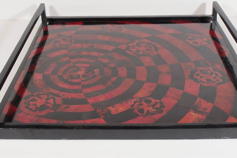 Ebonized Organic Modern Mosaic Tray in Lacquered Pen Shell For Sale