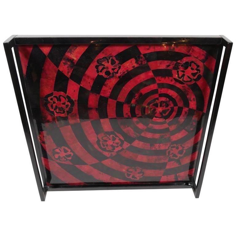 Organic Modern Mosaic Tray in Lacquered Pen Shell For Sale 3