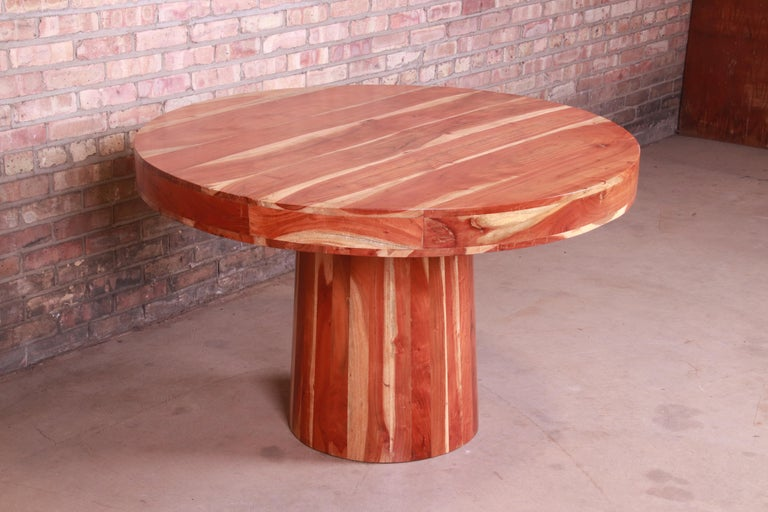 Organic Modern Natural Redwood Round Pedestal Dining Table For Sale 5
