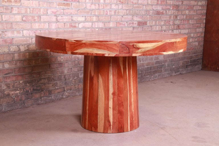 Organic Modern Natural Redwood Round Pedestal Dining Table For Sale 6