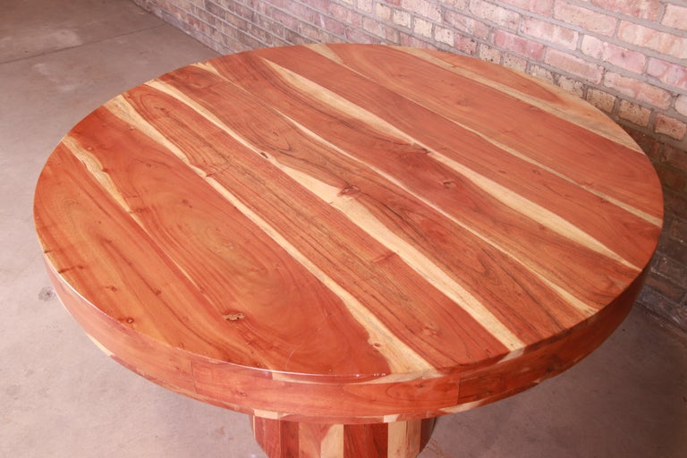 Organic Modern Natural Redwood Round Pedestal Dining Table For Sale 7