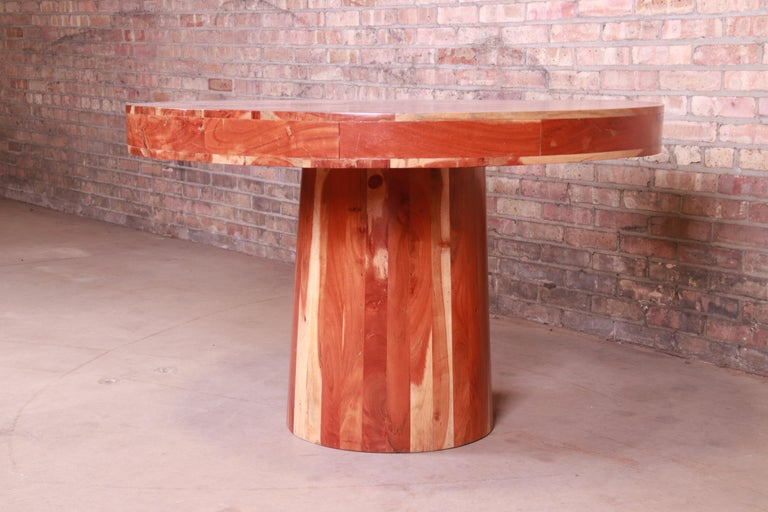 20th Century Organic Modern Natural Redwood Round Pedestal Dining Table For Sale