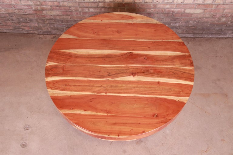 Wood Organic Modern Natural Redwood Round Pedestal Dining Table For Sale