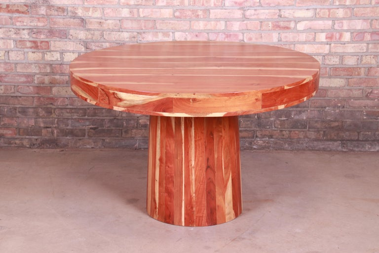 Organic Modern Natural Redwood Round Pedestal Dining Table For Sale 1