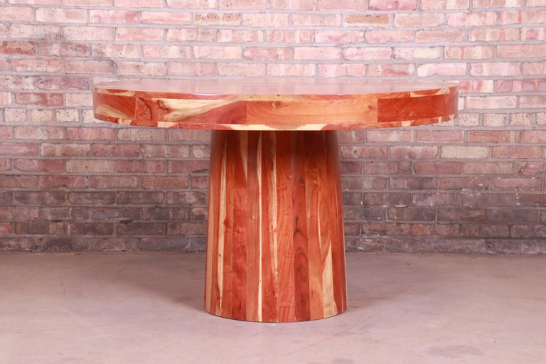 Organic Modern Natural Redwood Round Pedestal Dining Table For Sale 2