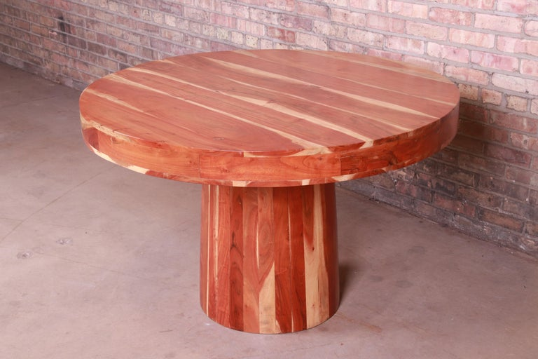 Organic Modern Natural Redwood Round Pedestal Dining Table For Sale 3