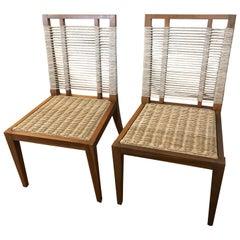Organic Modern Pair of Raffia Rope & Teak Side Chairs