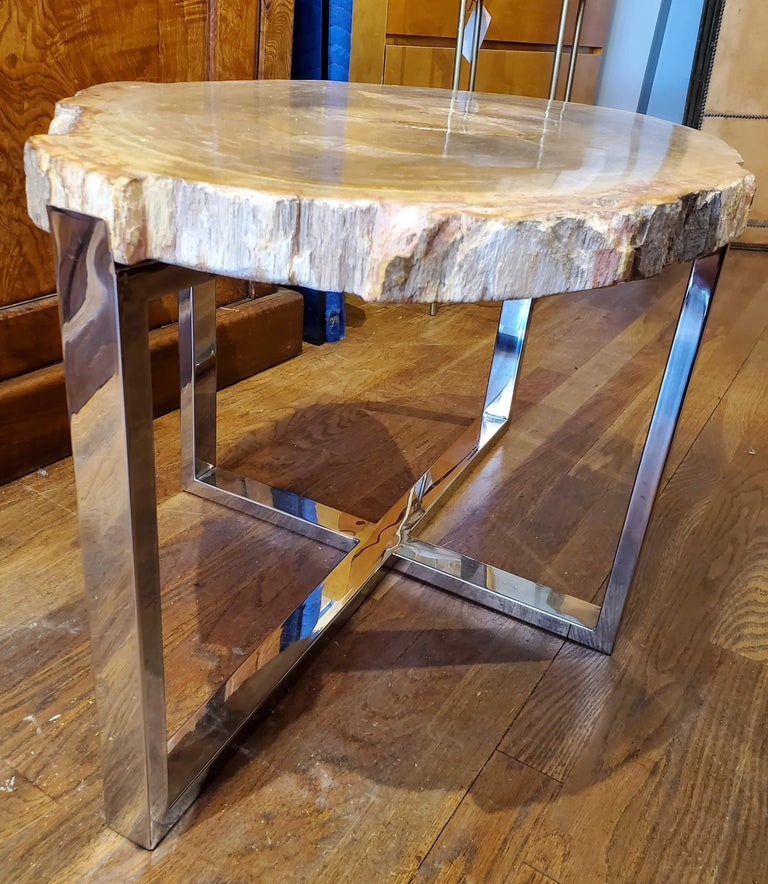 Contemporary Organic Modern Petrified Wood Side Table with Chrome Base For Sale