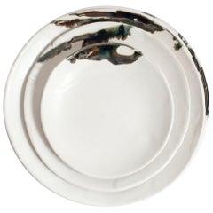 Organic Modern Porcelain and Platinum Drip Porcelain Plates