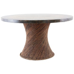 Organic Modern Rope Clad Round Tree Trunk Pedestal Table
