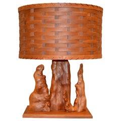 Organic Modern Sculptural Driftwood Table Lamp & Woven Basket Shade Walnut Base