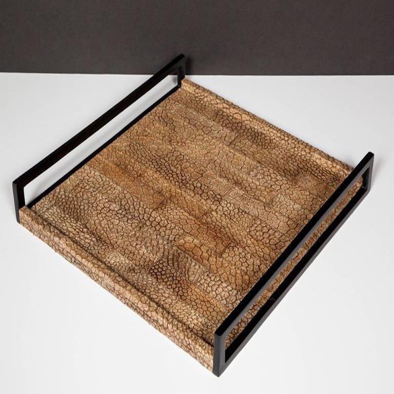 French Organic Modern Serving Tray in Genuine Crocodile Leather For Sale