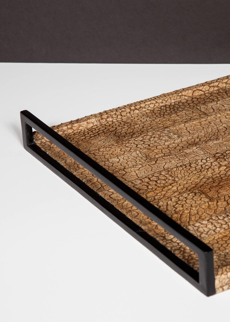 Hand-Crafted Organic Modern Serving Tray in Genuine Crocodile Leather For Sale