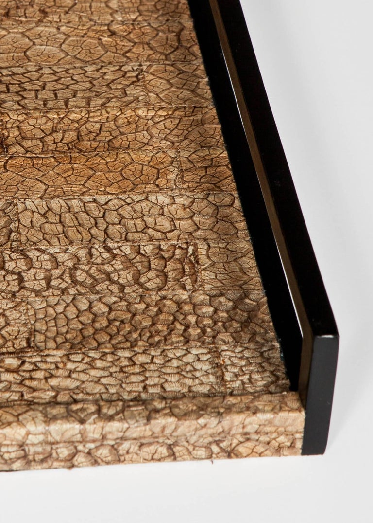 Contemporary Organic Modern Serving Tray in Genuine Crocodile Leather For Sale