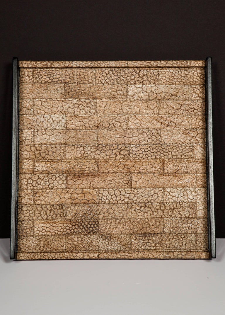 Organic Modern Serving Tray in Genuine Crocodile Leather For Sale 1